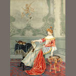 A framed watercolor of a young woman reclining in a chair with cats playing in the room, V. Carini, late 19th century