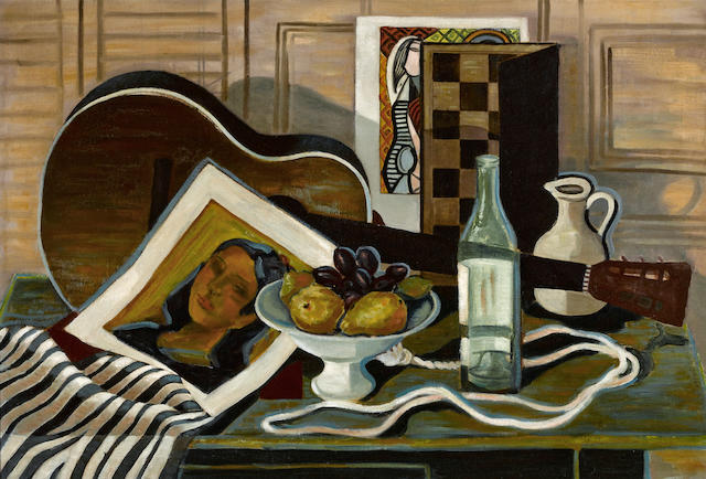 Francis De Erdely (Hungarian/American, 1904-1959) Still Life with a Guitar, 1950 25 x 37in