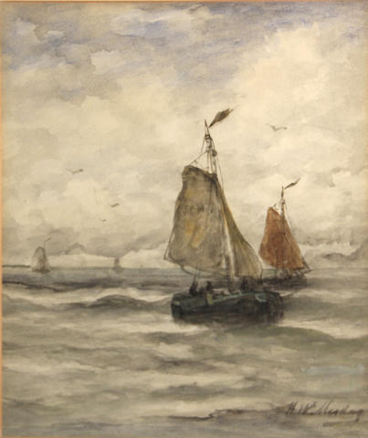 Hendrik Willem Mesdag (Dutch, 1831-1915) Scheveningen fishing boats sight 12 3/4 x 10 3/4in