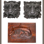 A group of six carved lion wall plaques<br> 12-1/2 x 8 in. (   cm.) the largest. 6