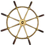 A bronze and mahogany ship's wheel<br> 20th century 30 in. (   cm.) diameter.