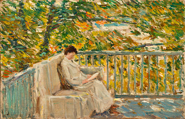 Childe Hassam (American, 1859-1935) The Balcony 5 1/8 x 8in