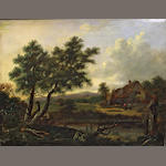 English Scholl, 19th C Initialed PN, oil/board, Cottage Landscape