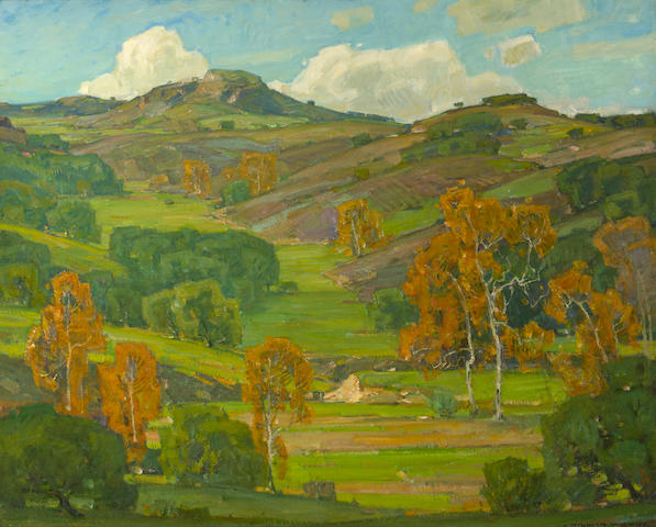 William Wendt (American, 1865-1946) Autumn Sycamores 40 x 50in