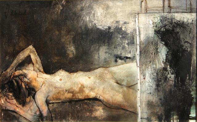 Jean Jansem, Le modile couche, o/c, 12 x 17 1/2in