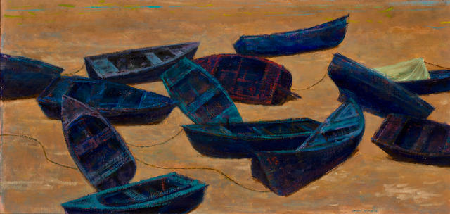 Joseph Hirsch (American, 1910-1981) Blue Boats 15 x 29 1/2in