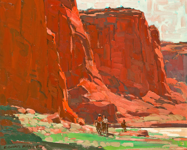 Edgar Payne (1883-1947) (Riders passing through) Canyon de Chelly, Arizona 18 x 22in