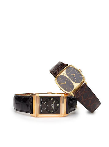 Jaeger-leCoultre. An 18K gold reversible wristwatch with two time zone day-night indicationsReverso, Day–Night, Ref:270254, Case no.1816155, circa 1997