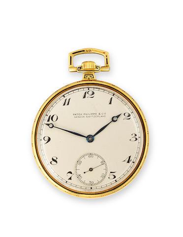 Patek Philippe. A fine enameled 18K gold open face dress watchMovement no.803216, Case no.409381, retailed by G. W. Fairchild & Sons, Bridgeport CT, circa 1925.