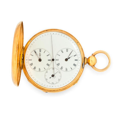 Huguenin Vuillemin, Le Locle. An 18K gold hunter cased dual time two train independent seconds lever watchNo.7082, second quarter 19th century