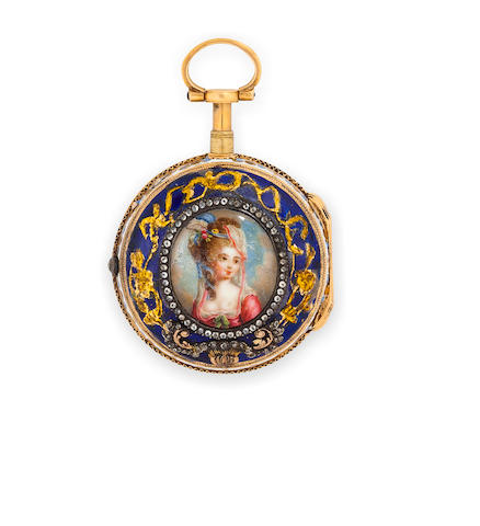 An enamel, rose-cut diamond and gold pocket watch with stand, damage to enamel evident