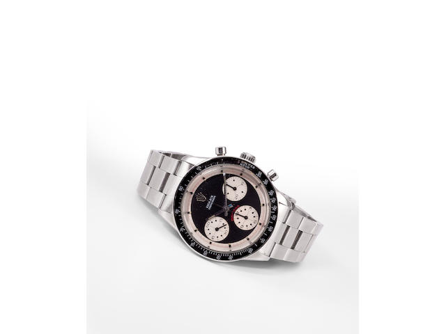 Rolex. A fine and rare stainless steel wrist chronograph and braceletCosmograph Daytona, Paul Newman model, Ref:6241, Case no. 764838, circa 1965