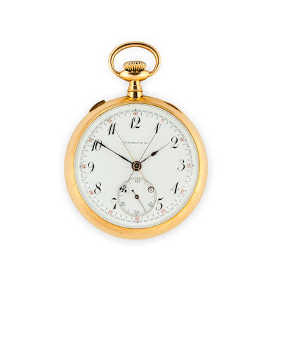 Swiss. An 18K gold open face split second chronographNo.10356, Retailed by Tiffany & Co., New York, circa 1900
