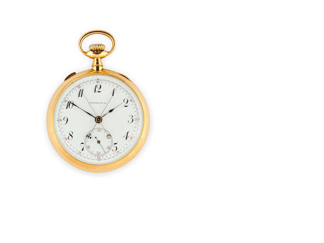 Swiss. An 18K gold openface split second chronographNo.10356, Retailed by Tiffany & Co., New York, circa 1900