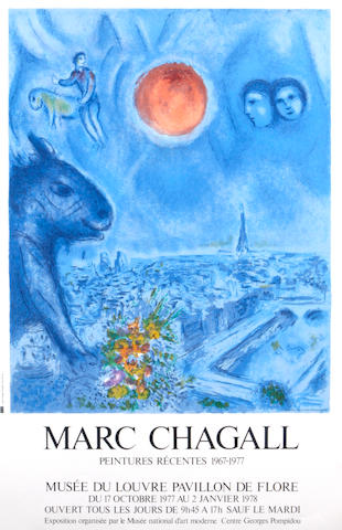 After Marc Chagall (Russian/French, 1887-1985); Floral Offering; Marc Chagall, Musée du Louvre Pavillon de Flore; (2)