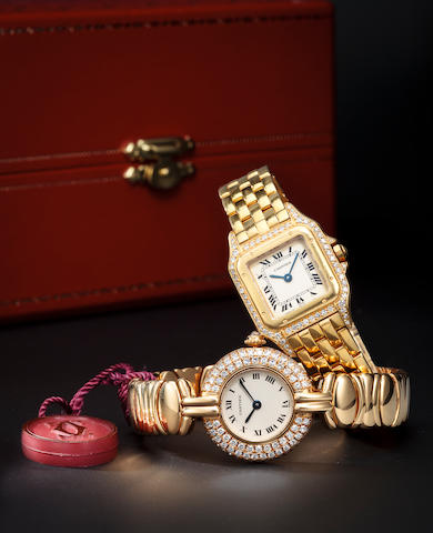 Lady's 18K yellow gold wrist and diamond bracelet watch, Cartier