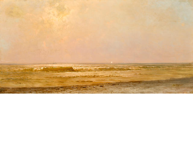 William Trost Richards (1833-1905  New Jersey Coastline, Seascape with Rolling Waves, signed lower right: W.T. Richards, oil on canvas.  18 x 36.25