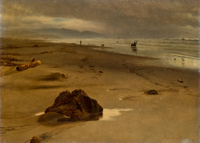 Albert Bierstadt (German/American, 1830-1902) San Francisco beach beyond Fort Point 16 x 21 3/4in
