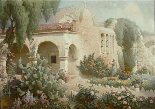 Charles Percy Austin (American, 1883-1948) Ringing the bells at Capistrano, 1941 34 x 48in