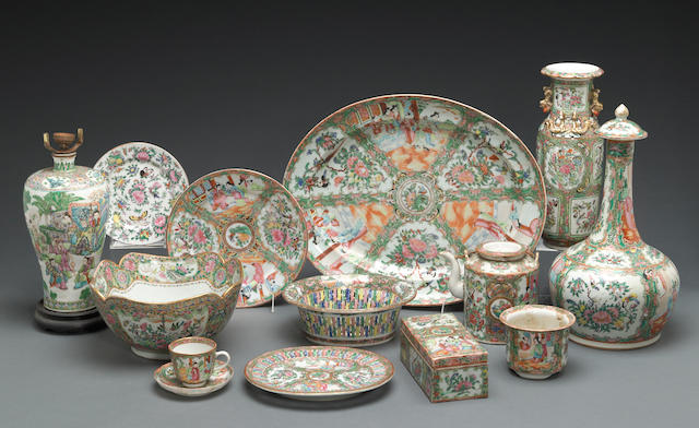 An assembled 'Rose Medallion' enameled and gilt porcelain partial dinner service  Late Qing dynasty/Republic period