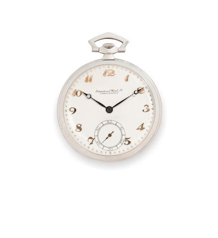 IWC. A platinum open face dress watchMovement no.1271, Case no.11764, mid 20th century
