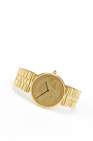 Corum. A fine 18K gold coin form bracelet watchMovement no.157464, Case no.313950