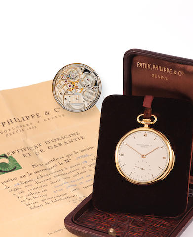Patek Philippe. A very fine 18K gold open face minute repeating watch with original box and certificateCase no. 416318, Movement no. 197646, 1920's