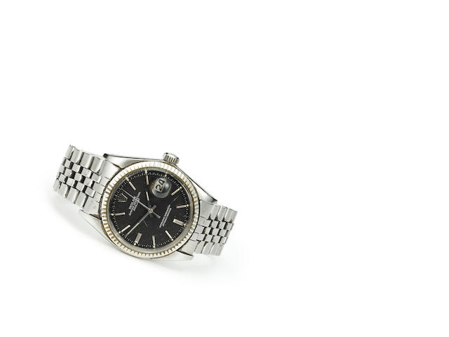Rolex. A stainless steel automatic center seconds wristwatch with braceletOyster Perpetual Datejust, Ref:1601, Case no.1873902, circa 1968