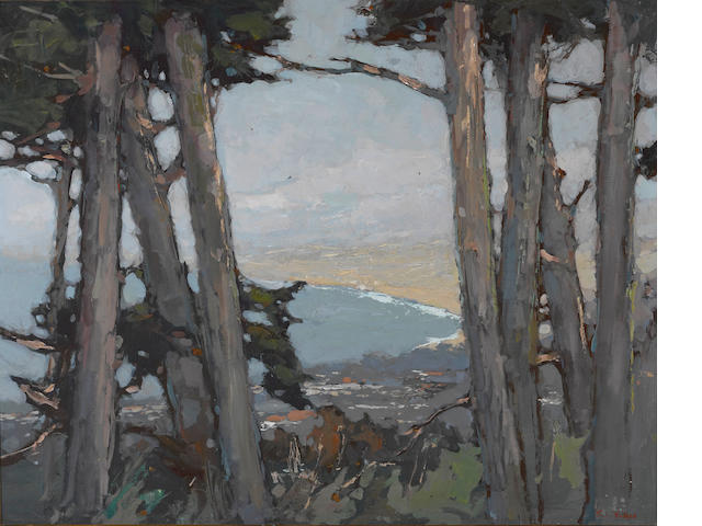 Si Chen Yuan (1911-1974) Monterey Bay through the trees 24 x 30in