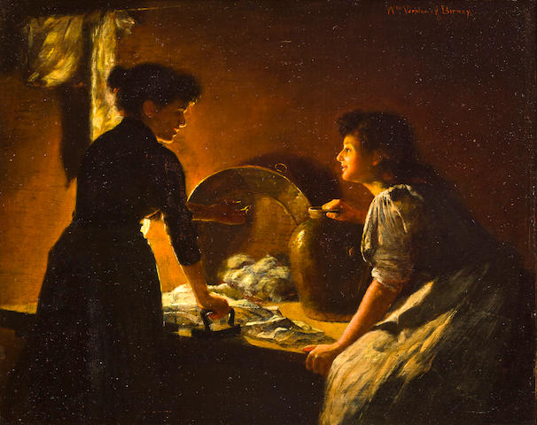 William Verplanck Birney (American, 1850-1919) Washerwomen by candlelight 10 x 12 1/4in