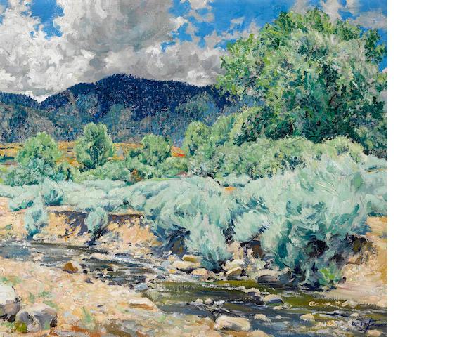 Walter Ufer (American, 1876-1936) Greasewood, Santa Fe River 17 x 20in