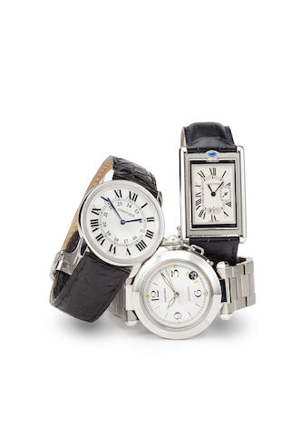 Cartier. A fine stainless steel wristwatch and bracelet with sweep seconds and datePasha, no. 59111CD