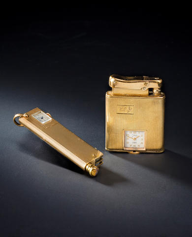 Gold cirgarette lighter with watch