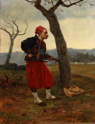 Étienne Prosper Berne-Bellecour (French, 1838-1910) A French Zouave holding his rifle 12 1/2 x 9in