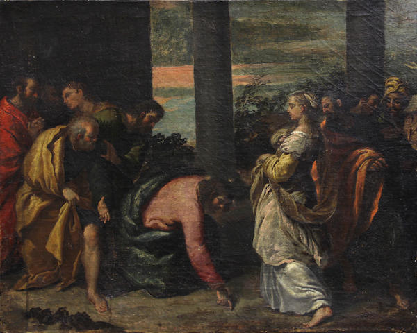 Venetian School, 17th Century Christ and the Woman Taken in Adultery 20 1/4 x 25in unframed
