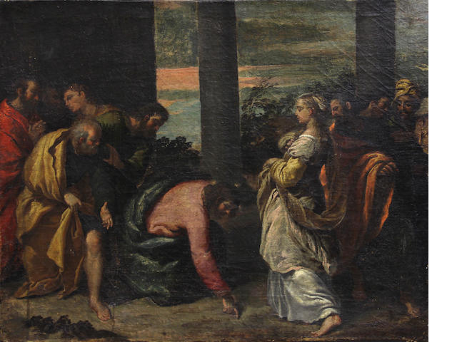 ITALIAN SCHOOL 17TH C., CHRIST ABSOLVING THE ADULTRESS, O/C, UNFRAMED.
