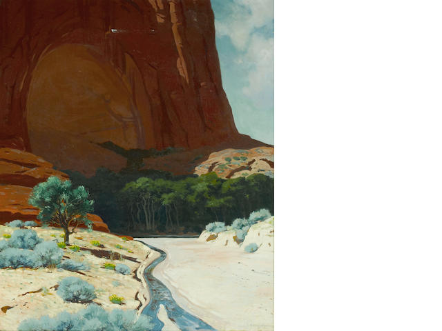 James Swinnerton (American, 1875-1974) River at the base of a towering mesa 40 x 30in