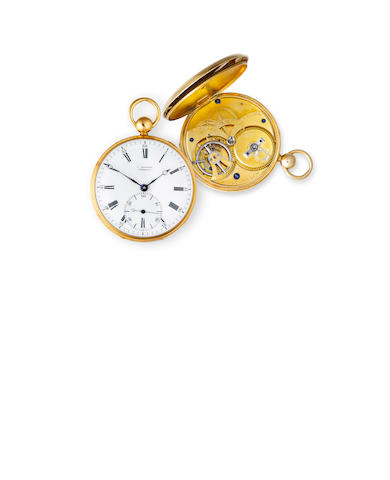 Ludovic Steinmetz, Kiöbenhavn. A fine and very rare 19K gold open face double wheel duplex watch.No. 28, the case with Copenhagen hallmarks for 1836