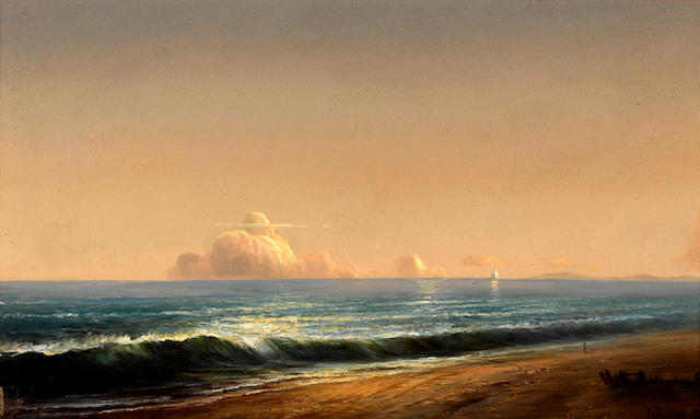 Norton Bush (American, 1834-1894) Calm day on the shore with clouds in the distance, 1880 12 x 20in