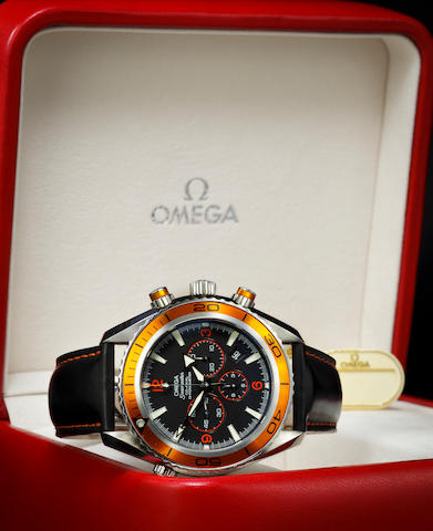 Omega. A fine automatic stainless steel diver's chronograph wristwatch with date and helium escape valveSeamaster Planet Ocean, Ref:29184502, No. 78330136