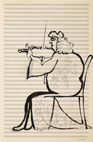 STEINBERG, SAUL. 1914-1999. Original gouache and ink on large sheet of musical score,