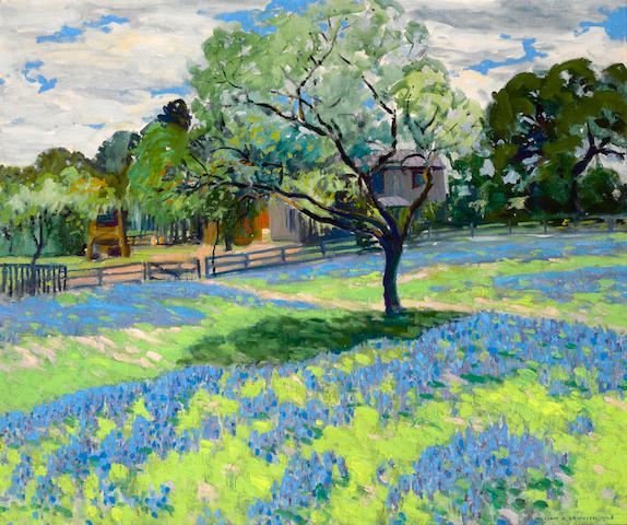 William Alexander Griffith (1866-1940) Blooming flowers with a ranch house beyond, 1928 25 x 30in