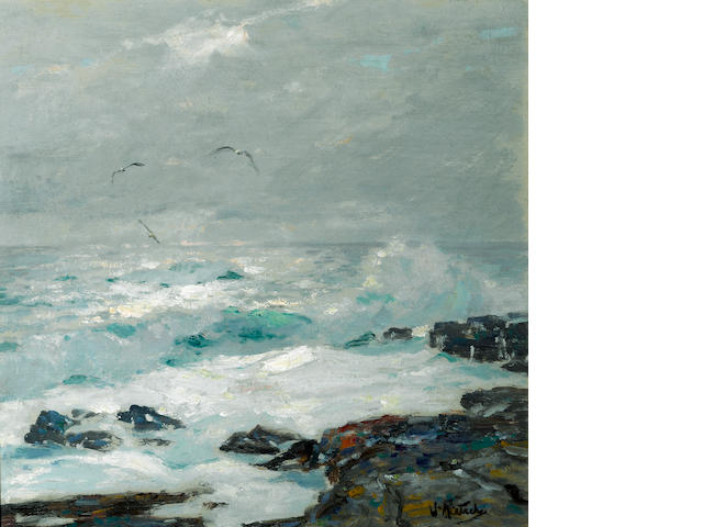 William Frederick Ritschel (American, 1864-1949) Surf breaking on the rocks with sea gulls above 14 1/4 x 14in