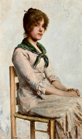 Charles Frederick Ulrich (American, 1858-1908) Portrait of a young woman 16 1/2 x 10 1/8in