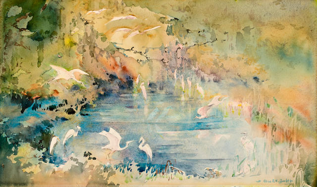 Alice Smith, Snowy Egrets deep in the swamp