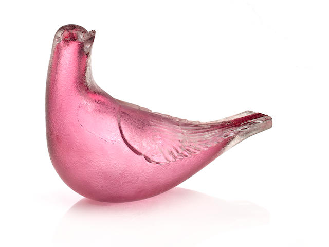 A Venini Corroso glass dove, designed by Tyra Lundgren  model 2625, designed circa 1938