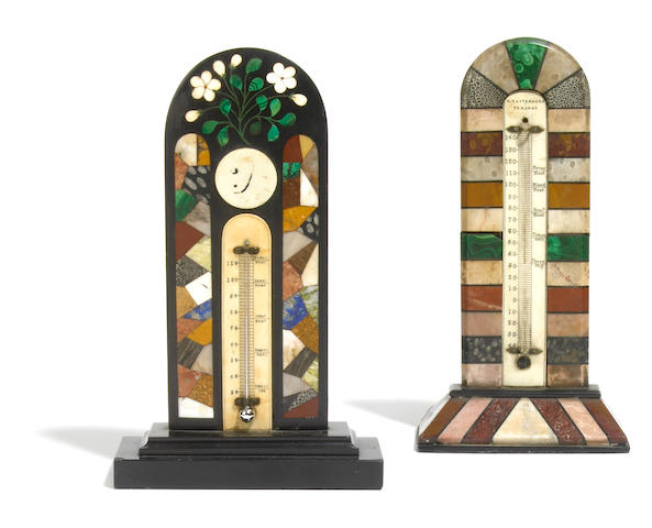 Two Victorian specimen marble, hardstone and slate desk thermometers <br>third quarter 19th century