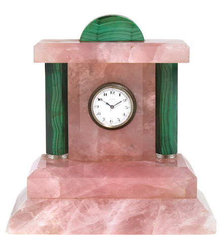 A Neoclassical style rose quartz and malachite desk timepiece  early 20th century
