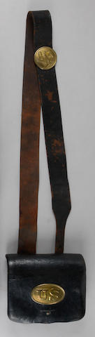 A U.S. Model 1855 infantry cartridge pouch with shoulder belt by Watertown Arsenal