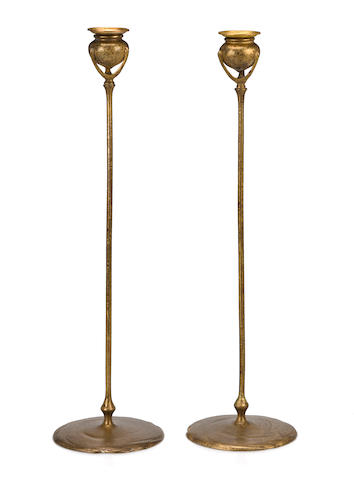 A pair of Tiffany Studios gilt-bronze candlesticks 1899-1918